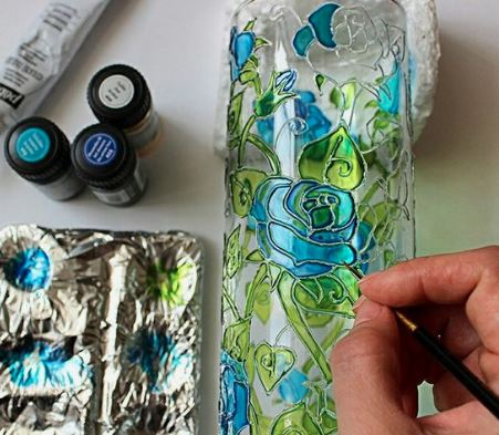 Faux Stained Glass Luminary Plastic Bottle