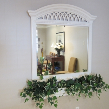 Mirror With Flower Box In Dining Room