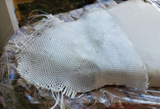 Repairing Canoe Deck End Cap Fiberglass Fabric