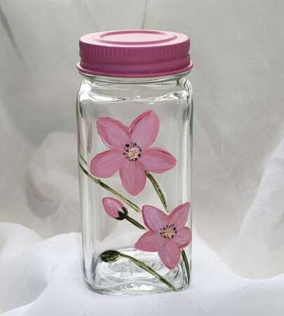 Spice Jar Pink Sprigs