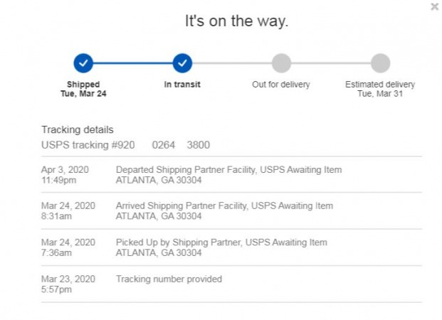 Delivery message Arrived Shipping Partner Facility, USPS Awaiting Item